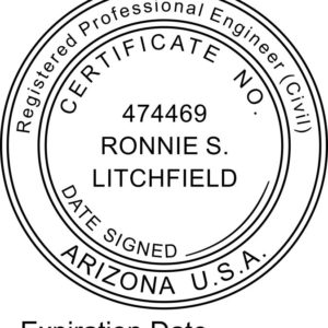 ARIZONA Registered Professional Engineer With Expiration Date Stamp