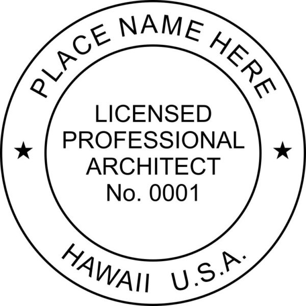 HAWAII Licensed Professional Registered Architect Stamp