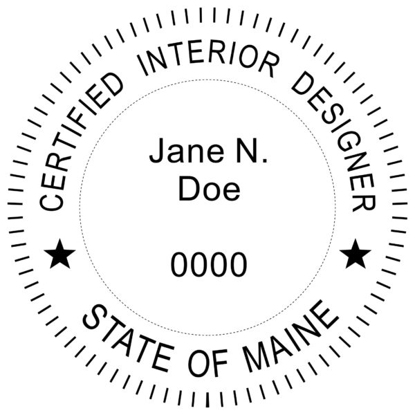MAINE Certified Interior Designer Stamp