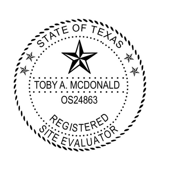 TEXAS Registered Professional Site Evaluator Stamp