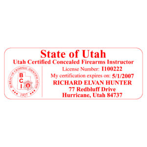 UTAH Concealed Firearms Instructor Stamp – Self-Inking