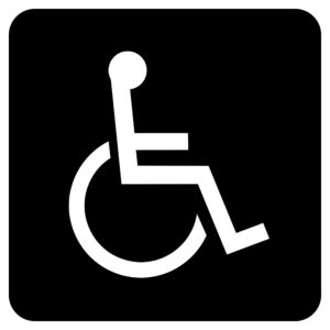 ADA005 Black 300x300 - Wheelchair Symbol - Economy ADA signs with Braille