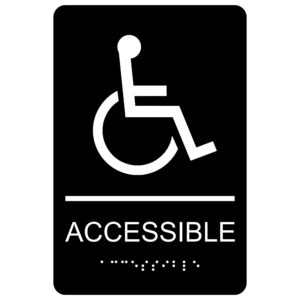 ADA007 Black 300x300 - Accessible with Wheelchair Symbol - Economy ADA signs with Braille