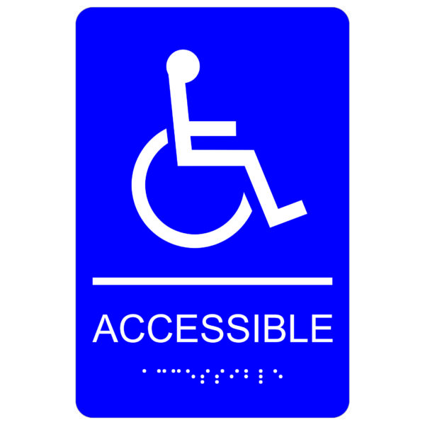 ADA007 Blue 600x600 - Accessible with Wheelchair Symbol - Economy ADA signs with Braille