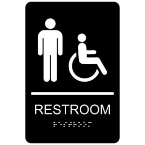 ADA010 Black 300x300 - Men with Wheelchair Symbol Restroom - Economy ADA signs with Braille