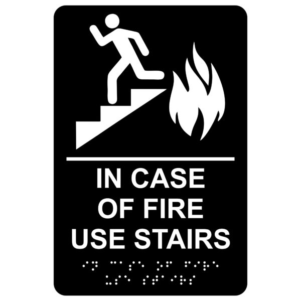 In Case of Fire Use Stairs – Economy ADA signs with Braille