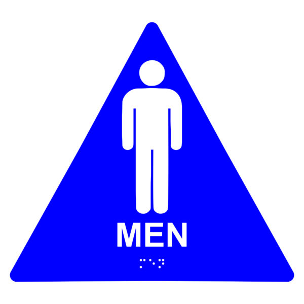 ADA020 Blue 600x600 - Men Restroom - Triangle Economy ADA signs with Braille