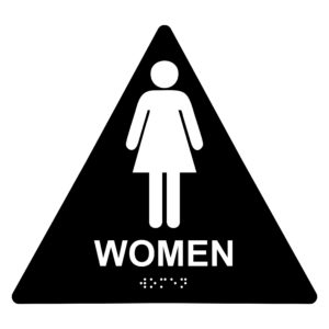 ADA022 Black 300x300 - Women Restroom - Triangle Economy ADA signs with Braille