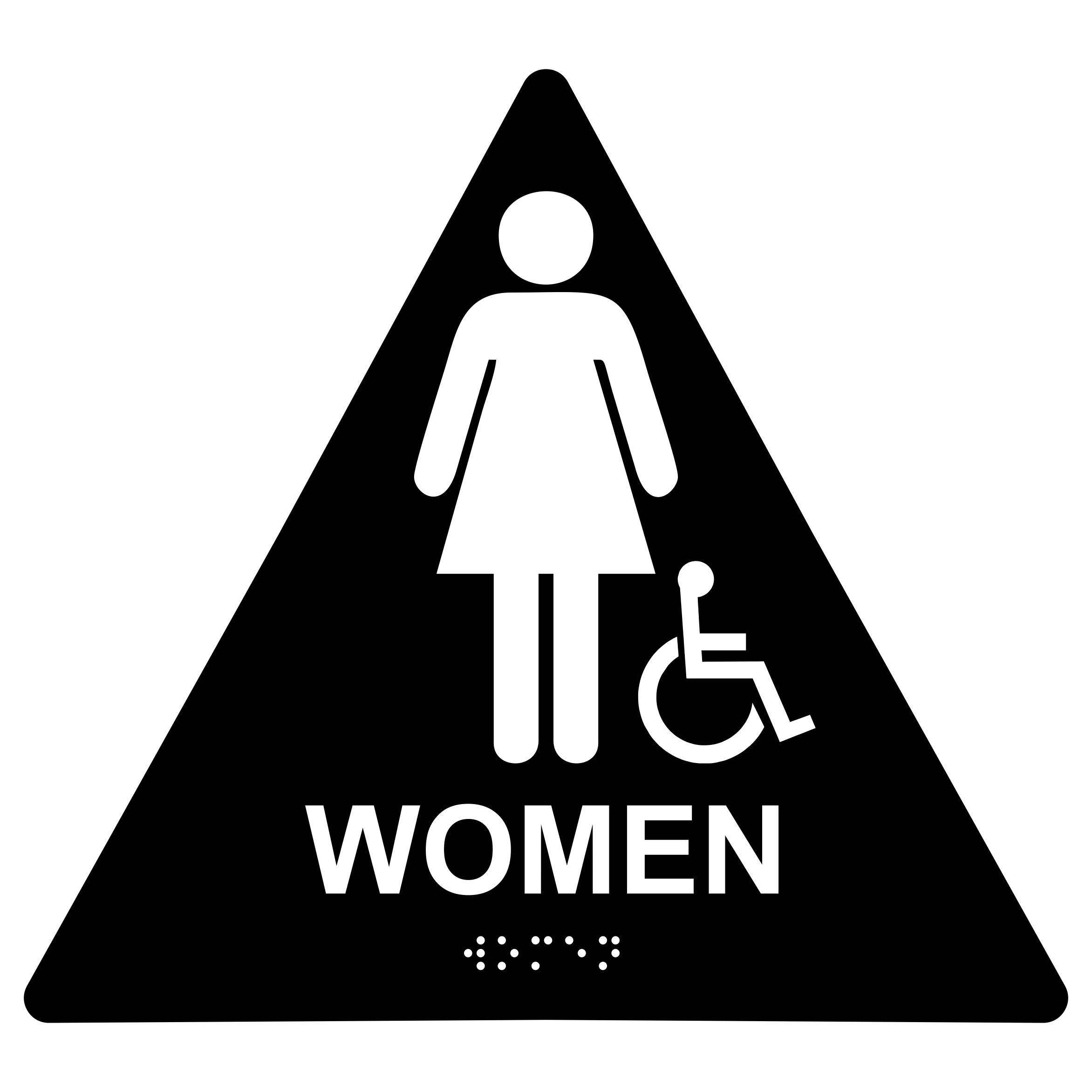 Women With Wheelchair Symbol Restroom Triangle Economy Ada Signs With Braille Winmark Stamp