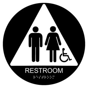 ADA025 Black 300x300 - Restroom with Wheelchair Symbol - Circular Economy ADA signs with Braille