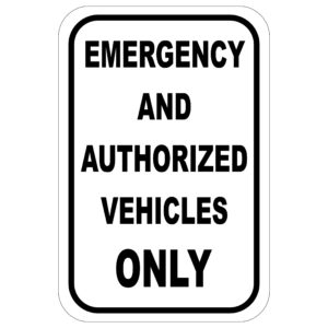 Emergency Vehicles black 300x300 - Emergency and Authorized Vehicles Only aluminum sign