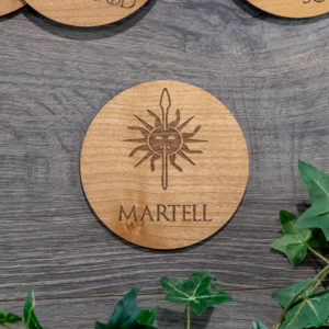 IMG 1361 1 300x300 - House Martell Game of Thrones Wooden Coasters with House Sigil