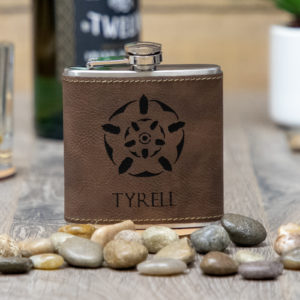 House Tyrell Game of Thrones Sigil 6 ounce leatherette flask with FREE Funnel