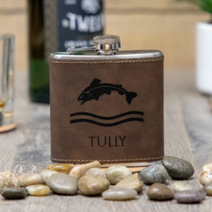 IMG 1667 300x300 - House Tully Game of Thrones Sigil 6 ounce leatherette flask with FREE Funnel