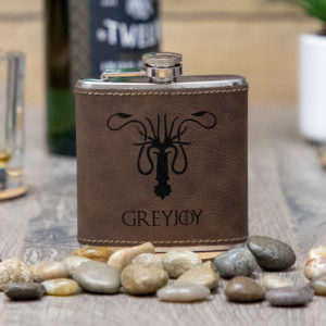 IMG 1676 300x300 - House Greyjoy Game of Thrones Sigil 6 ounce leatherette flask with FREE Funnel