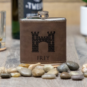 House Frey Game of Thrones Sigil 6 ounce leatherette flask with FREE Funnel