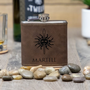 IMG 1688 1 300x300 - House Martell Game of Thrones Sigil 6 ounce leatherette flask with FREE Funnel