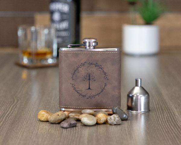 One Ring To Rule Them All 6 ounce leatherette flask with FREE Funnel