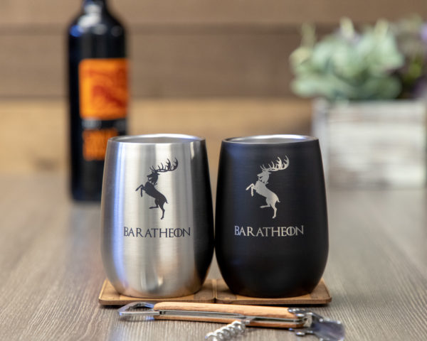 Set of 2 House Baratheon Game of Thrones Sigil 9 ounce Stainless Steel Stemless Wine Glass