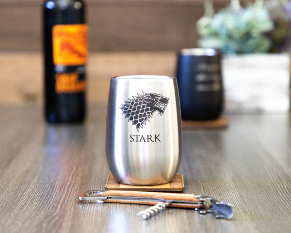 Set of 2 House Stark Game of Thrones Sigil 12 ounce Stainless Steel Stemless Wine Glass