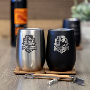 Set of 2 Gryffindor House 12 ounce Stainless Steel Stemless Wine Glass