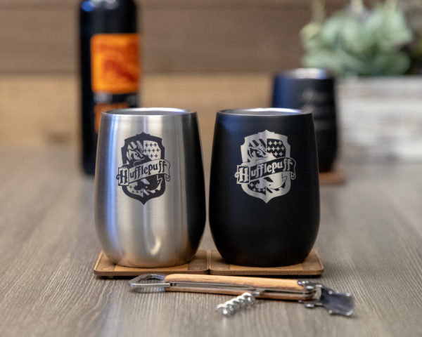 Set of 2 Hufflepuff House 12 ounce Stainless Steel Stemless Wine Glass