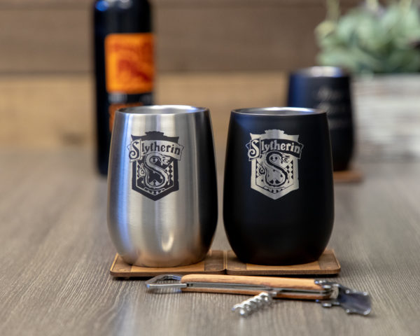 Set of 2 Slytherin House 12 ounce Stainless Steel Stemless Wine Glass