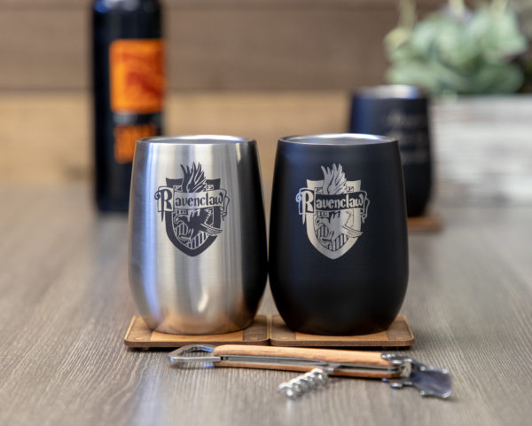 Set of 2 Ravenclaw House 12 ounce Stainless Steel Stemless Wine Glass