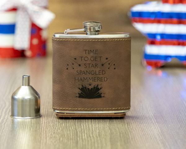 Star Spangled Hammered 6 ounce leatherette flask with FREE Funnel