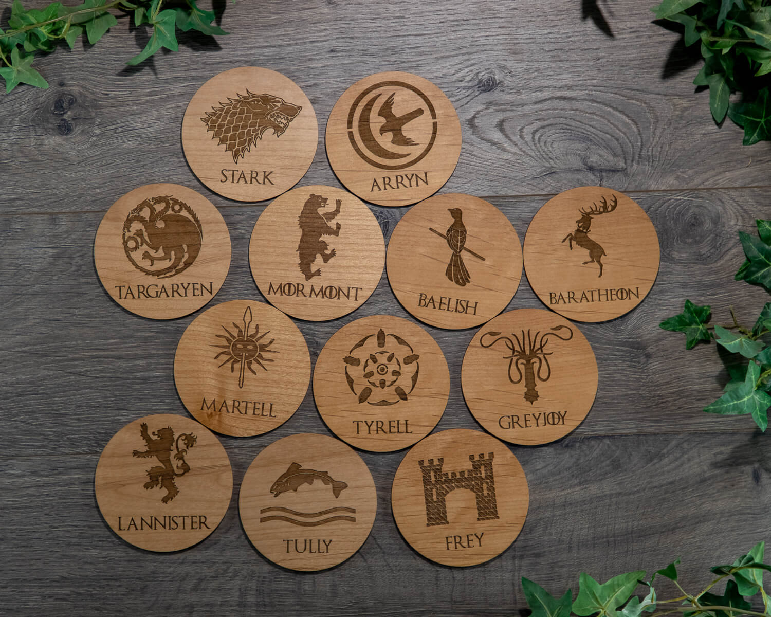 game of thrones wooden coaster drink set gift idea - 4 Cool Game of Thrones Gift Ideas Any Fan Would Love!