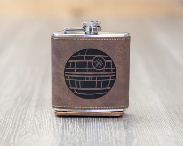 Death Star 6 ounce leatherette flask with FREE Funnel
