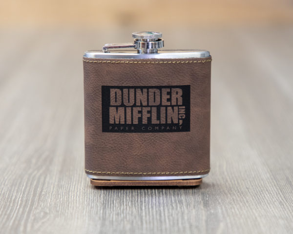 Dunder Mifflin 6 ounce leatherette flask with FREE Funnel